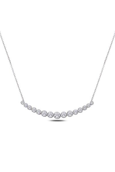 925 Ayar Gümüş Zirkon Taşlı Su Yolu Kadın Gümüş Kolye