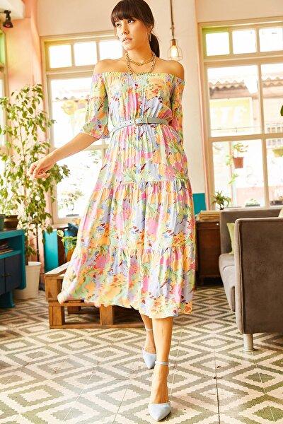 Kadın Multi Beli Lastikli Renk Desenli Carmen Yaka Elbise ELB-19001228