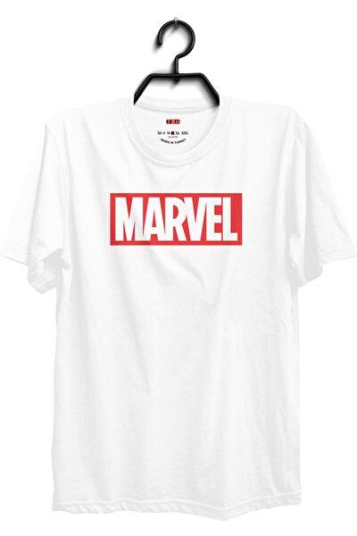 Beyaz Bisiklet Yaka Unisex Marvel