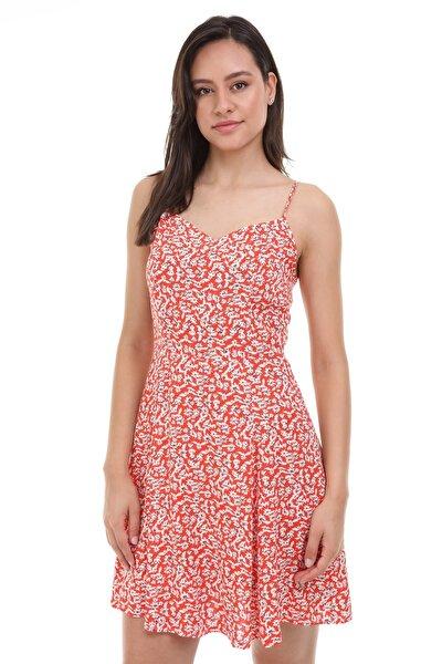 Kadın Nar Çiçeği Askılı Desenli Elbise