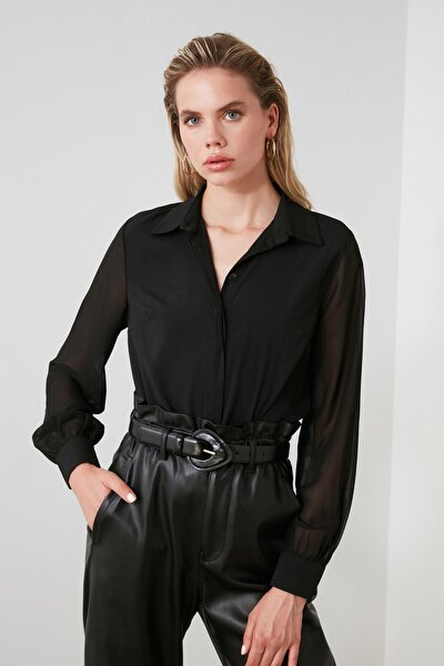 Siyah Kol Detaylı Gömlek TWOAW20GO0116