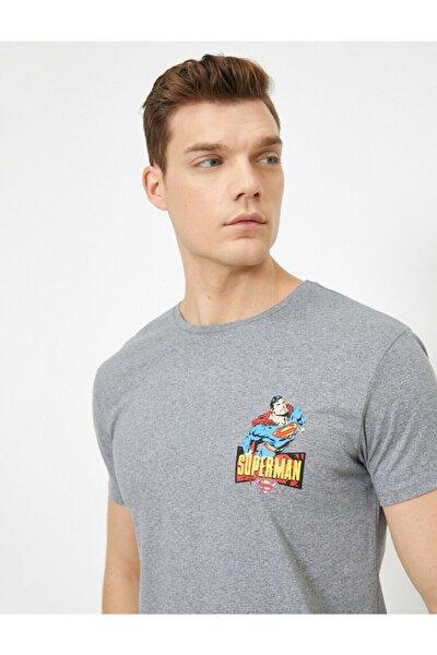 Erkek Gri Süperman Lisansli Baskili T-shirt