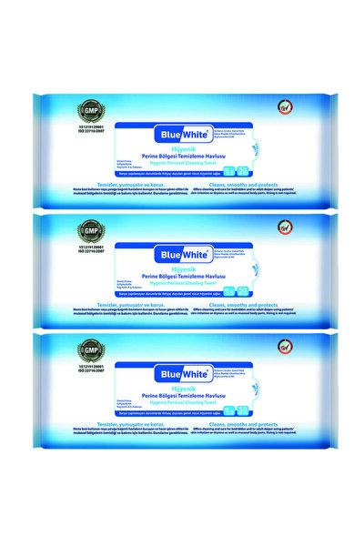 Blue White Antibakteriyel Perine Bölgesi Vücut Temizleme Havlusu Mendili 50li 3 Paket 150 Kullanım