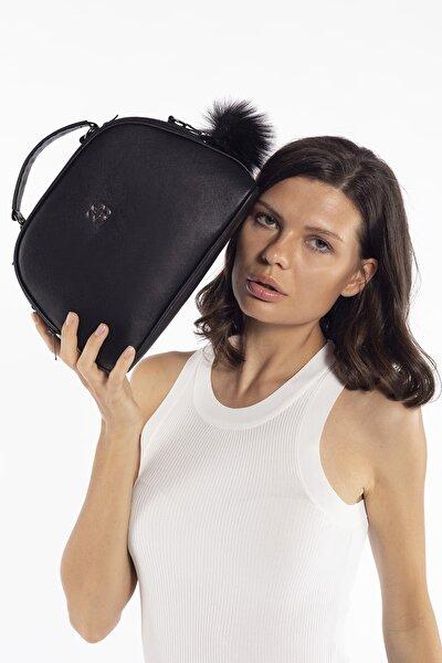 Siyah Kadın D Model Çapraz Çanta Omuz Çantası ve El Çantası