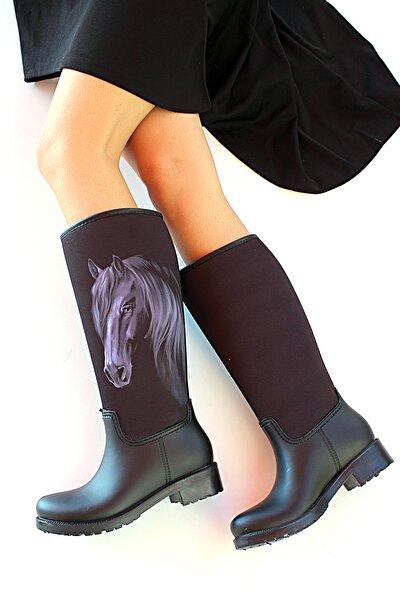 Kadın Siyah At Baskılı Çizme