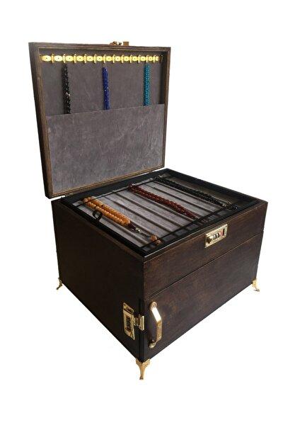 4 Çekmeceli Çift Şifre Korumalı Büyük Boy 3 Katmanlı Tespih Koleksiyon Kutusu Kahverengi
