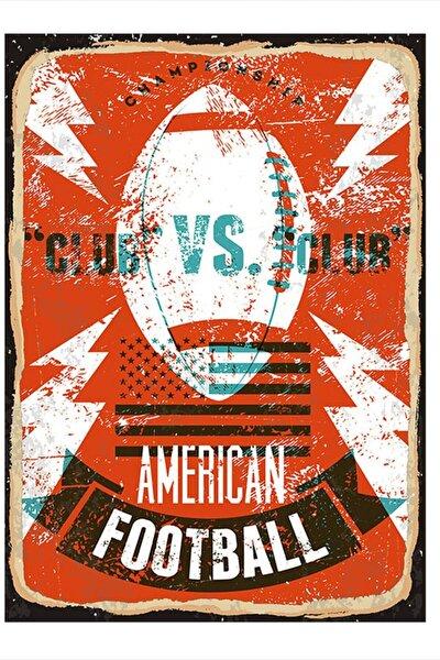 Amerikan Futbolu Model Ahşap Tablo 35cm X 50cm