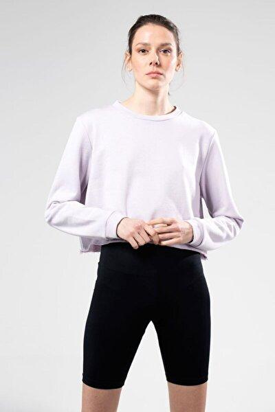 Kadın Lila Uzun Kol Crop Sweatshirt