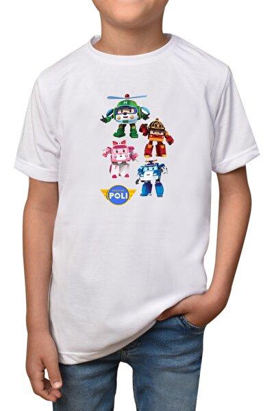 Robocar Poli- Beyaz Çocuk - Yetişkin Unisex T-shirt T-8