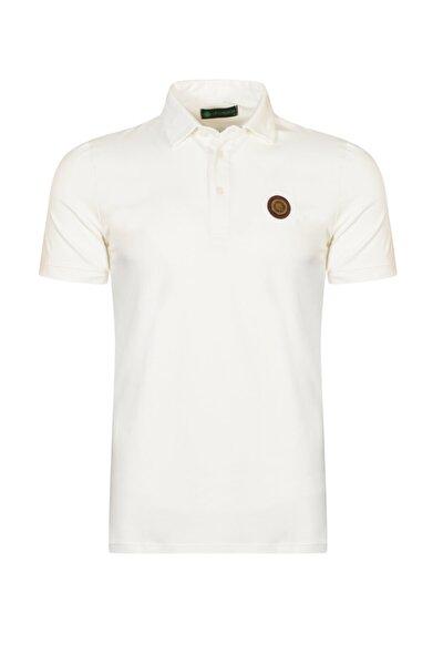 Erkek Ekru Polo Yaka Pamuk T-Shirt
