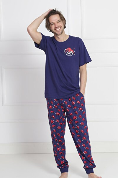 Erkek Lacivert Kısa Kol Manşetli Pijama Takım