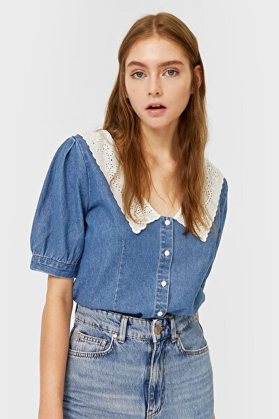 Kadın Orta Mavi Chelsea Yaka Denim Gömlek 06183531