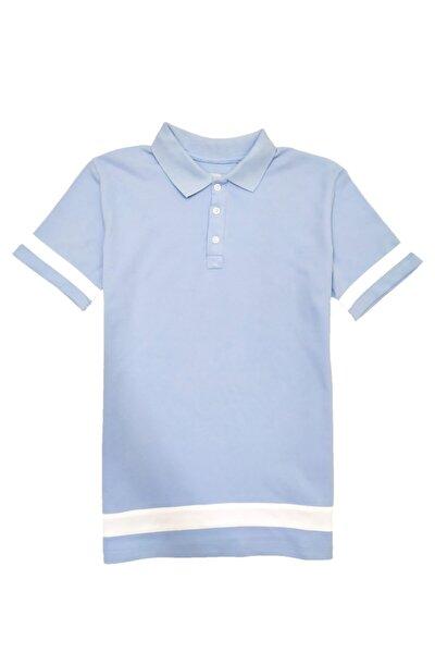 Şeritli Mavi Yakalı Slim Fit T-shirt