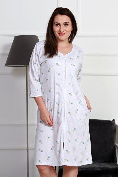 Kadın Beyaz Fermuarlı Cepli Ev Elbisesi