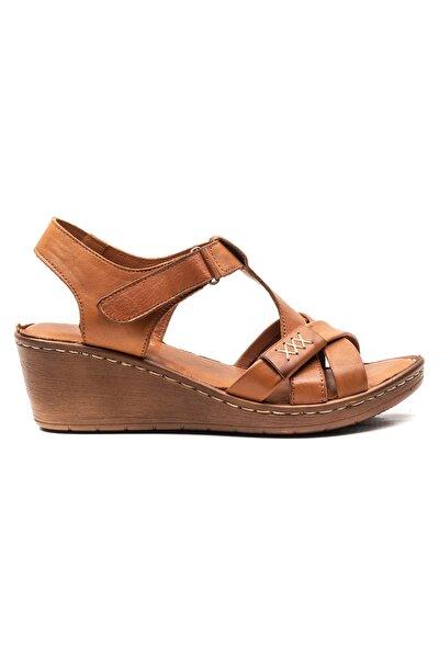 Sancia Kadın Deri Sandalet Taba