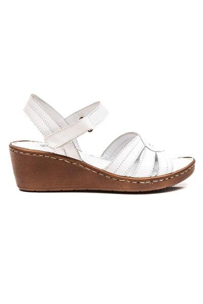 Sancha Kadın Deri Sandalet Beyaz