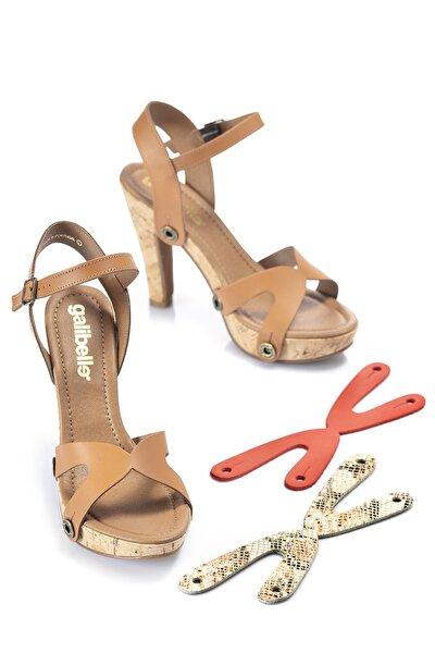 Kadın Ince Topuklu Sandalet Mantar Tabanlı Kahverengi Pembe Kırmızı (DEĞİŞTİRİLEBİLİR ÜST KAYIŞLI)