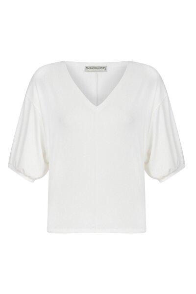 Kadın Kırık Beyaz V Yaka Casual Bluz 372990