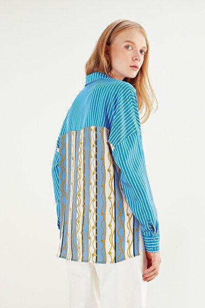 Kadın Mavi Desenli Oversize Çizgili Gömlek 368881