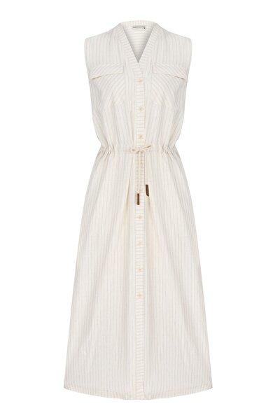 Kadın Multi Renk Viskoz/Keten Midi Elbise 1216717