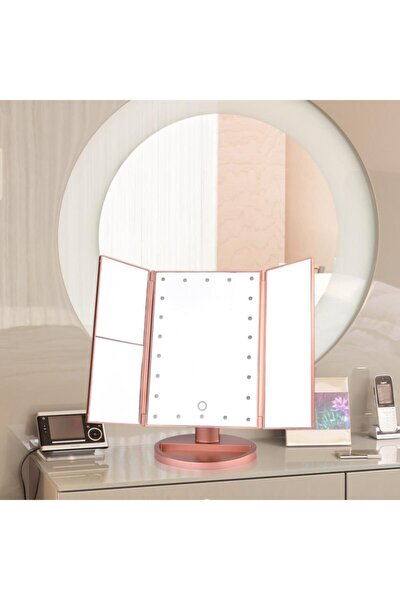 24 Led Işıklı Pembe Makyaj Aynası  X 2x 3x 5x Hd Zoom3 Panel Katlanabilir Dokunmatik Sensörlü