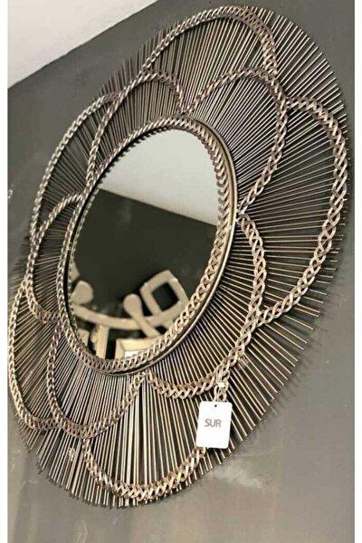 Lucky Art Gümüş Örgülü Çubuklu Ayna 89 Cm
