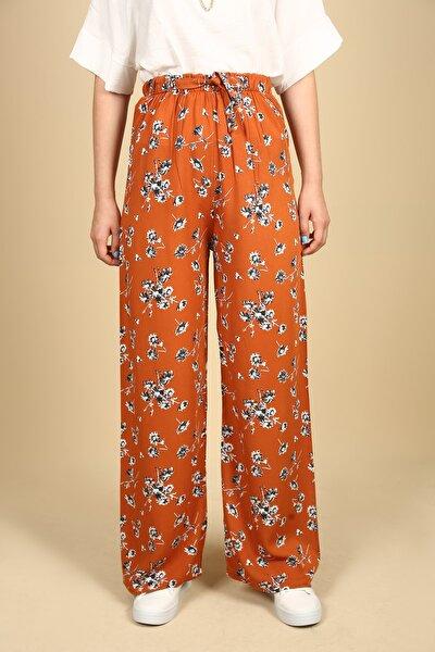 Çok Renkli Çiçek Desenli Beli Lastikli Bol Salaş Pantolon
