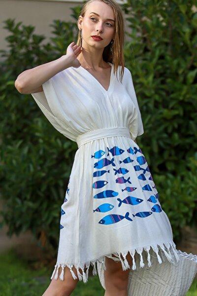 Kadın Beyaz Vintage V Yaka Balık Desenli Saçaklı Buldan Kumaş Beach Elbise M10510700EL99995