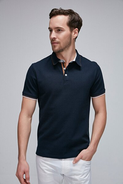 NOAH Pike Kumaşla Kol Ucu Renkli Jakarlı ve Yaka Güderi Detaylı Lacivert Polo Yaka T-shirt