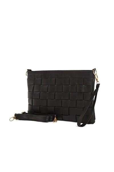 Örgülü Derili Model Fermuarlı Çapraz Askılı Siyah Portföy El Ve Omuz Çantası Gc001900ff