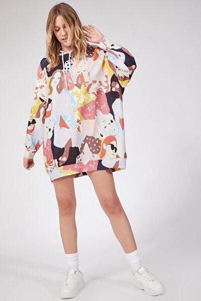 Kadın Çikolata Desenli Oversize Sweat Elbise  DD00511