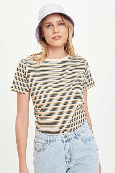 Kadın Ekru Çizgili Kısa Kollu T-Shirt N9534AZ20SP