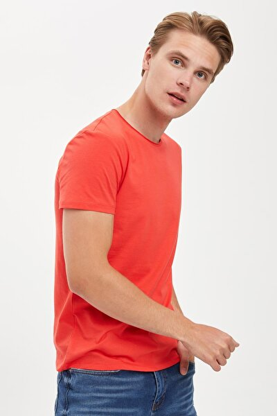 Erkek Kırmızı Slim Fit Bisiklet Yaka Basic Pamuklu Tişört S4972AZ20HS