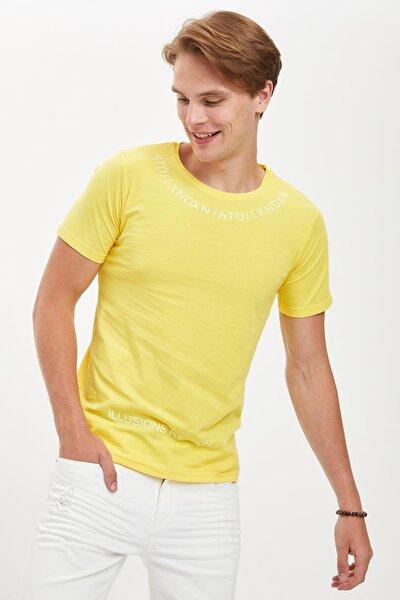 Erkek Sarı Baskılı Slim Fit Bisiklet Yaka Pamuklu Tişört S3996AZ20HS