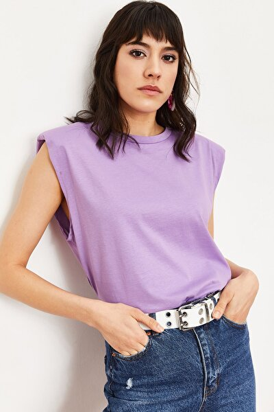 Kadın Mor Vatkalı Penye Basic T-shirt