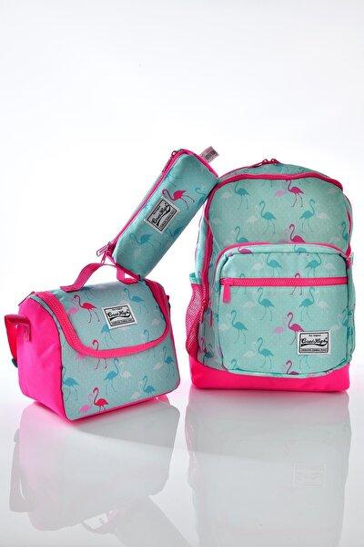 23111 Flamingo Desenli 3'lü Okul Çantası Seti