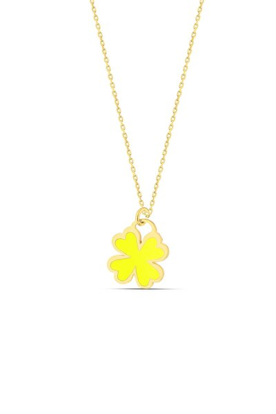 Sarı Neon Gümüş Yonca Kolye