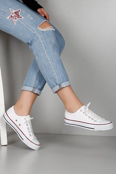 Beyaz Keten Kadın Günlük Spor Düz Taban Sneaker 35222