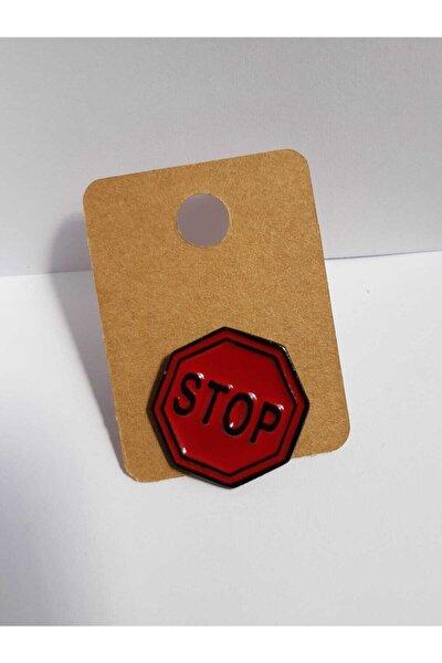 Stop Tasarımlı Metal Pin Rozet Broş