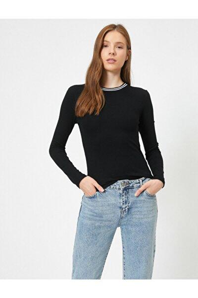 Kadın Yakasi Çizgi Detayli Uzun Kollu Basic Tisört