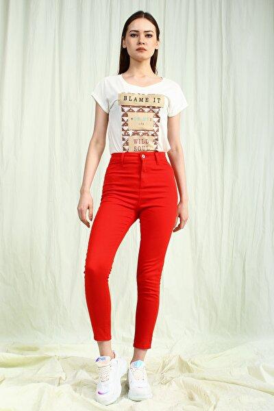 Kadın Kırmızı Yüksek Bel Skinny Kadın Pantolon