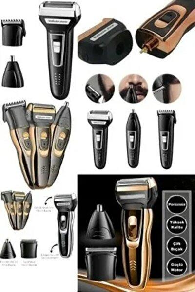 Şarjlı Saç Sakal Traş Makinesi Burun Kılı Alma 3 Başlıklı Set 007