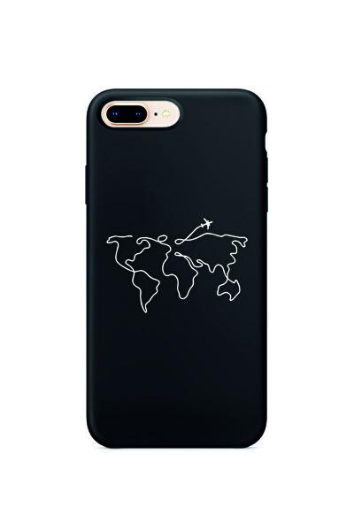 Iphone 8 Plus Dünya Harita Rotalı Siyah Lansman Kılıf