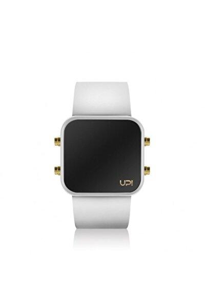 Unisex Siyah Silikon Kordon Led Mını Gold Whıte And Whıte Strap Kol Saati