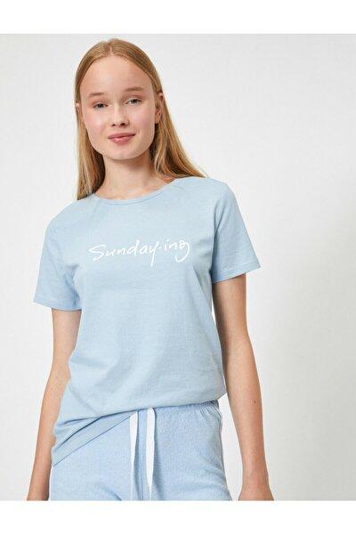 Kadın Mavi T-Shirt 0YAL18304IK