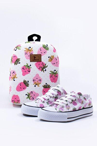 Kız Çocuk Beyaz Çilek Çanta Ve Ayakkabı Takımı (bağcıklı)