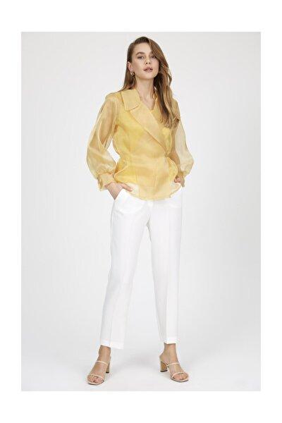 Sarı V Yaka Astarlı Uzun Kollu Organze Gömlek