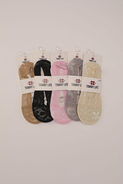 Slikonlu Dantelli Babet 5 li Kadın Çorap T08BY-05770