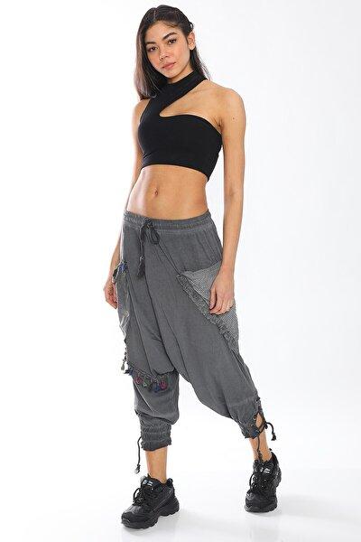 Kadın Gri Yazlık Rahat Tasarım Şalvar Pantolon