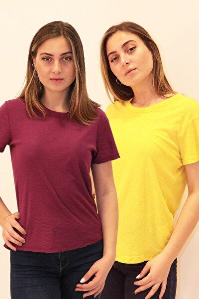 Fuşya Sarı Kadın Organik Bisiklet Yaka T-shirt 2'li
